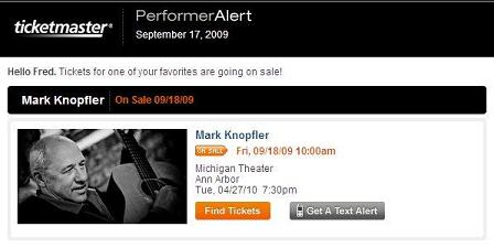 Ticketmaster - Mark Knopfler