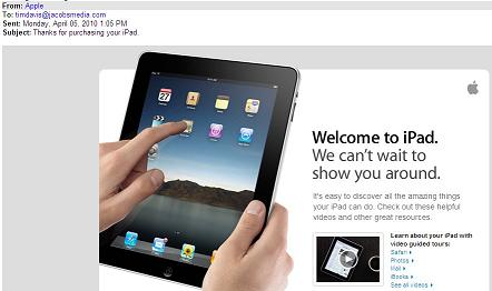 Apple iPad Email