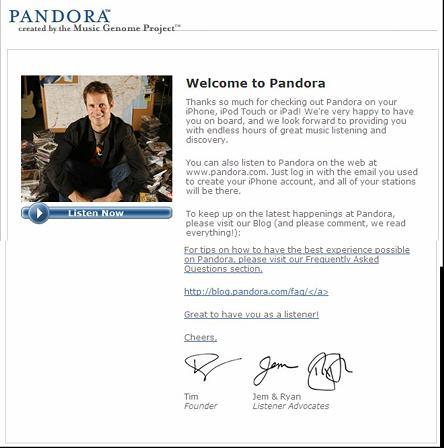 Pandora Welcome Email